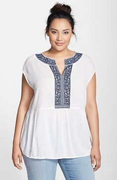 Caslon®+Embroidered+Boho+Top+(Plus+Size)+available+at+#Nordstrom