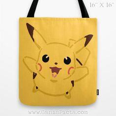 Pikachu Pokemon Tote Bag Television Show Anime TV Pop Culture Humor Yellow Mustard Ochre Gift Cartoon Gold Gotta Catch them All Fun Gift Him on Etsy, $35.00