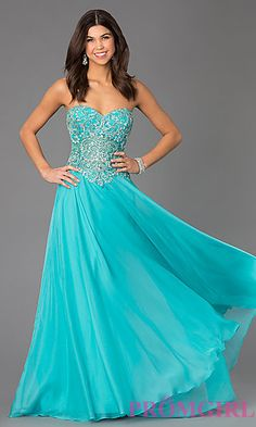 Floor Length Dave and Johnny Dress with Jewel Embellished Bodice at PromGirl.com