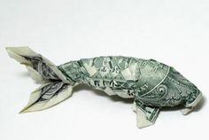 Dollar Koi Fish origami tutorial