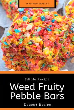 Weed fruity pebble bars have quickly become one of my favourite cannabis edibles. This recipe serves 25 and takes just over an hour to make! Fruity Pebble Bars, Fruity Pebbles Treats, Fruity Pebbles Cereal, Recipes With Fruity Pebbles, Weed Recipes, Marijuana Recipes, Cannabis Edibles, Marijuana Plants, Cereal Treats