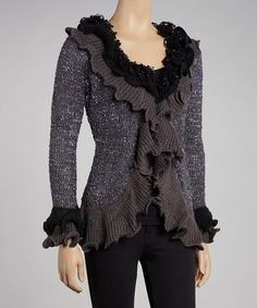 Take a look at this Gray & Black Ruffle Wool-Blend Cardigan by Cozy in the Cold: Sweaters & Ponchos on @zulily today!