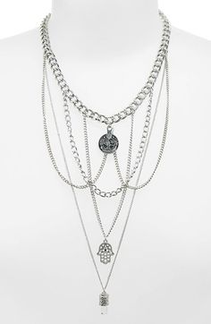 Topshop Multi-Row Chain Link Hand of Fatima Charm Necklace available at #Nordstrom