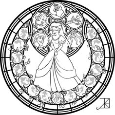 Stained Glass: Ariel: Remastered -line art- by Akili-Amethyst.deviantart.com on @deviantART