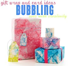 Use BUBBLES to create cute DIY gift wrap paper! This is a fun art craft activity the kids will love to help with. | @kimbyers TheCelebrationShoppe.com