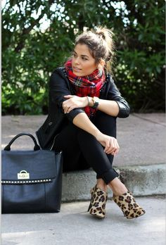 Plaid & leopard - like the combo- minus the shoes.  I would wear black or brown boots instead.