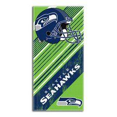 Seattle Seahawks NFL Fiber Reactive Beach Towel (Diagonal Series) (28in x 58in)