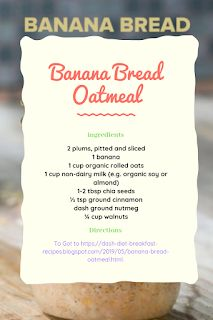 I've used this a a dash diet dessert recipe, try a heart healthy Banana Bread Oatmeal recipe. Dash Diet Breakfast Recipe, Breakfast Recipes, Low Fat Snacks, Dash Diet Recipes, Diet Desserts, Keeping Healthy, Oatmeal Recipes, Recipe Of The Day, Healthy Fats
