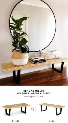 Here are some updated sources for the iconic Nelson bench!   HERMAN MILLER NELSON PLATFORM BENCH | $1,015 GEORGE NELSON STYLE BENCH | $185 image via @Megtimjakebay  See all of our looks for less on Pi