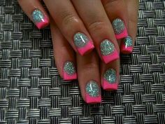 Grey glitter fill with pink tips nails