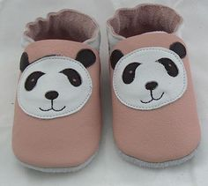 Hand Made Soft sole leather pink panda soft leather by minitoes