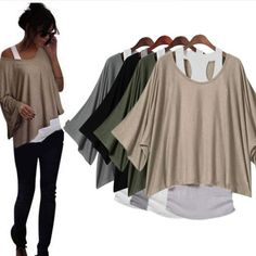2 in 1 New Hot Batwing Style Loose Tops Blouses T Shirt Fit Size 6 10 | eBay