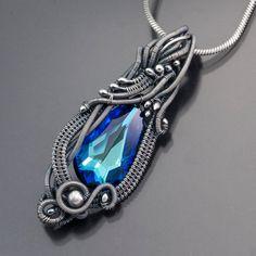 Bermuda Blue Swarovski Crystal and Fine Silver by sarahndippity, $135.00