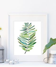 Tropical leaf print botanical art in watercolour. Leaf printable modern art green print. Minimalist tropical wall art large poster. by OnceuponpaperCo on Etsy