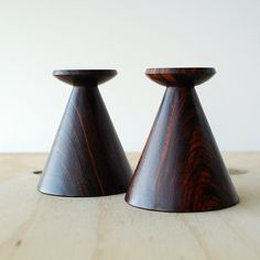 Pair of Vintage Turned Wood Candle Sticks Deep Walnut Color Mid Century Modern Style