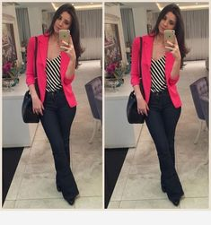 Simple Summer to Spring Outfits to Try in 2019 Business Casual Outfits, Cute Casual Outfits, Casual Chic, Work Fashion, Fashion Outfits, Look Star, Look Office, Look Blazer, Vetement Fashion