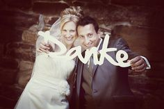 Danke Schriftzug shabby Hochzeit Heirat Fotograf von LeRoe auf DaWanda.com