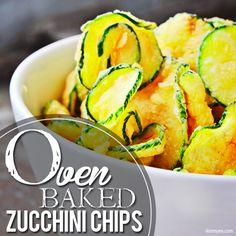 Oven Baked Zucchini Chips. Crisp and so good!  #skinnyms #sidedish #zucchinichips
