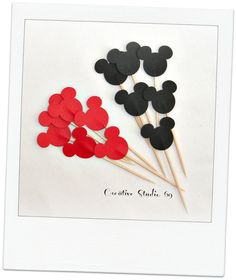 24 DecorativeBlack Red  Mickey Mouse Party Picks, food picks, cupcake toppers. $3.50, via Etsy.