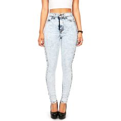 Torn Seam High Waist Skinnys   Light Denim at Pink Ice ($48) ❤ liked on Polyvore featuring jeans, pants, bottoms, high waist, high rise skinny jeans, ripped skinny jeans, acid wash skinny jeans, high waisted ripped jeans and high-waisted jeans