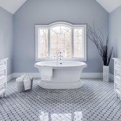 Bathrooms - JENNIFER PACCA INTERIORS  #interiordesign #homedecor #design #decor #marble #soakingtub #bathroomretreat  #goals #architecture #inspiration #interior #bathroom #masterbathroom  #hisandhers #luxurybathroom #tiles #inspo #whataview #beforeandafter #newbathroom #periwinklewalls #dreambathroom #luxuryrealestate #bathroomremodel #bathroomdesign #realestate #remodeling  #dreamhome