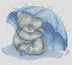 Tatty Teddy Under Umbrella