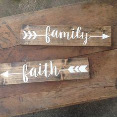 Arrow Wood Sign Pick One Rustic Sign Family Love Faith Home Explore Memories Gather Laugh Hand Painted Home Decor