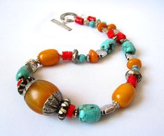 Ethnic Tibetan Amber Copal Resin  Tribal Turquoise Red Coral necklace
