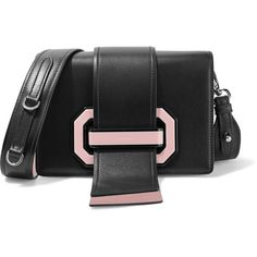 Prada Ribbon Plexi two-tone textured-leather shoulder bag ($3,250) ❤ liked on Polyvore featuring bags, handbags, shoulder bags, black, crossbody purses, two tone handbags, strap purse, lucite purse and cross body strap purse