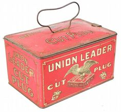 Union Leader Cut Plug Tobacco Lunch Box Tin   Showtime Auction Services