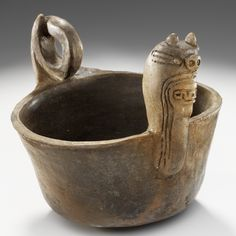 Ceramic bowl depicting the Underwater Panther or Great Serpent, Rhodes Place, Crittenden County, Arkansas, ca. Native American Pottery, Native American Artifacts, Record Bowls, Coil Pots, Indian Artifacts, Hand Built Pottery, Back Art, Ceramic Bowls, Prehistoric