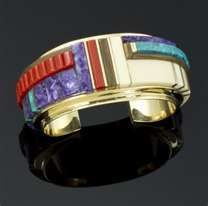14K gold Kachina Inlayed bracelet by Charles Loloma, Hopi.