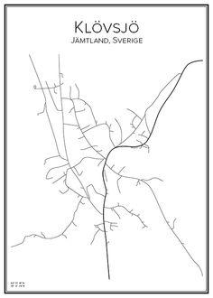 Klövsjö. Jämtland. Sverige. Map. City print. Print. Affisch. Tavla. Tryck. Stadskarta.
