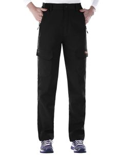 """Nonwe Women's Warm Water-resistant Workouts Fleece Climbing Sweat Pants Black1 M/30"""" Inseam. Side elasticated waist. Zipper pocket and velcro pocket combination. Comfy and stretchy fleece fabric. Main function: water-resistant, windproof, ultraviolet ray, breathe freely, wear-resisting, heat preservation. Keep warm in the deep winter, ideal for Winter outdoor camping,climbing,hiking,skiing,cycling and so on."""
