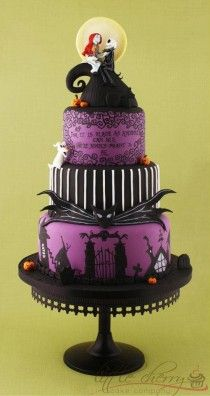Hand-painted Nightmare Before Christmas Violin Wedding Cake ♥ Tim Burton Tiered Purple Fondant Halloween Wedding Cake