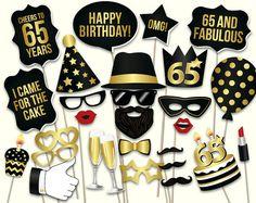 65th birthday photo booth props: printable PDF. by HatAcrobat
