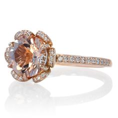 Morganite ring 14k rose gold flower halo diamond engagement ring 8mm