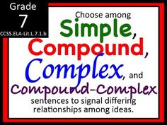 Types of Sentences : Simple, Complex, Compound and CC Sentence Structure Grammar And Punctuation, Teaching Grammar, Spelling And Grammar, Spelling Ideas, Complex Sentences, Types Of Sentences, Compound Complex Sentence, Vocabulary List, Vocabulary Instruction