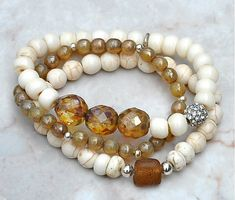 Natural Shades Beaded Bracelets / Stacked Bead Bracelets / Set of 3