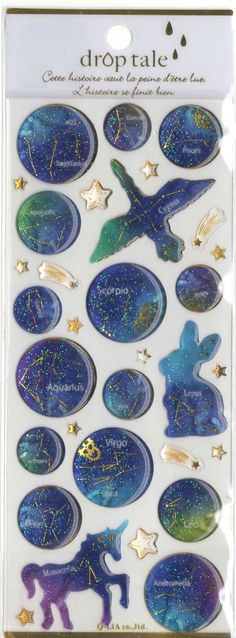 Kawaii Japan Sticker Sheet Assort Droptale Series: Zodiac Sign Constellation by mautio on Etsy Kawaii Stickers, Cute Stickers, Washi, Cute Stationary, Kawaii Stationery, Coaster, Tampons, Galaxy, Ciel