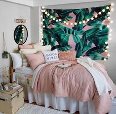 Pink and Grey and White Dorm Room Inspiration. Beach vibes Pink and Grey and White Dorm Room Inspiration. Dorm Room Designs, Girl Bedroom Designs, Room Ideas Bedroom, Teen Bed Room Ideas, Bedroom Themes, Diy Bedroom Decor For Teens, Bedroom Inspo, Pink Bedroom Decor, Home School Room Ideas