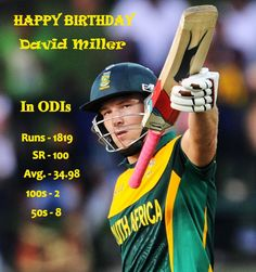 Happy Brithday to KXIP captain and South African former batsman David Miller #David #miller #cricket #fantasycricket #onthisday #FantasyLeague #HappyBirthday