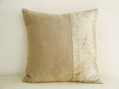 Linen and Metallic Silver Pillow Cover by anekdesigns, $23.00