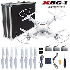 Syma X5C-1 RC Quadcopter Toys with Potable Carrying Case HD camera explorers 2.4GHz 6 Axis Gyro 4CH Drone (Extra: 2 x 600mAh Battery 1 x 4-in-1 charger 1 x 4G Micro SD Card 4 x propellers)