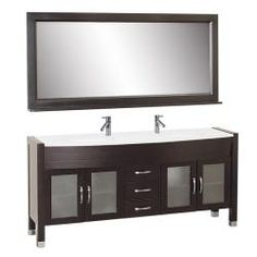 @Overstock - This Elle bathroom vanity set features maximum storage with four doors and three storage drawers.  The vanity is constructed from solid oak wood and comes complete with the mirror and faucets.http://www.overstock.com/Home-Garden/Elle-72-inch-Double-sink-Bathroom-Vanity-Set/6180382/product.html?CID=214117 Add to cart to see special price