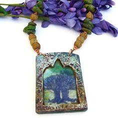 #TreeofLife Artisan #Necklace, Polymer Clay #Pendant, Wood Jasper and Green Turquoise, #Handmade #Jewelry @shadowdog