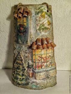 """Купить Черепичка """" Новогодняя сказка"""" - Новый Год, новогодний подарок, новогодний сувенир Decoupage, Brick, Tile, Xmas, Roof Tiles, Mosaics, Bricks, Tiles, Backsplash"""