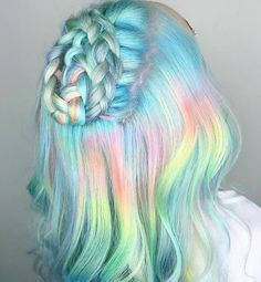 Colorful hair, pastel rainbow hair, hair colours, cute hair colors, brown h Cute Hair Colors, Hair Dye Colors, Cool Hair Color, Amazing Hair Color, Kids Hair Color, Awesome Hair, Pastel Rainbow Hair, Colorful Hair, Pastel Hair Dye