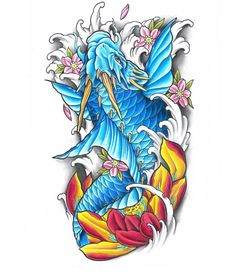 Got to add some colour to this dragon koi for a continuation Tatto Koi, Dragon Koi Tattoo Design, Koi Dragon Tattoo, Japan Tattoo Design, Japanese Koi Fish Tattoo, Koi Fish Drawing, Japanese Tattoo Designs, Fish Drawings, Red Indian Tattoo