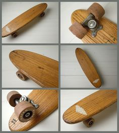 Wood board with clay wheels! Old School Skateboards, Vintage Skateboards, Cool Skateboards, Longboard Design, Skateboard Design, Skateboard Decks, Long Skate, Old Scool, Cruiser Boards